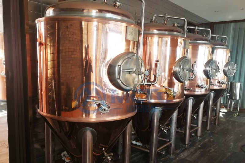 Red copper 500L beer brewing equipment purchased by domestic customers in China
